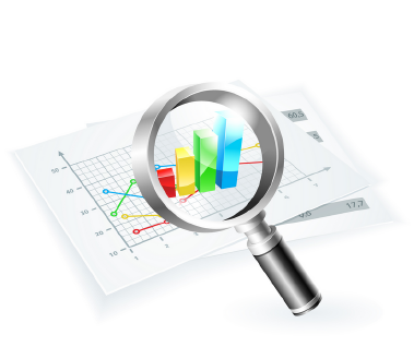 charts with magnifier